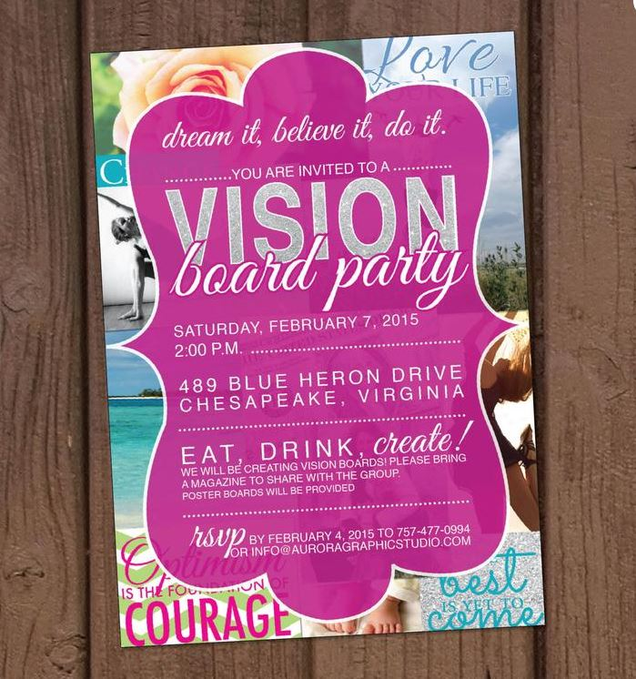 - Vision Board Party Invitation by Aurora Graphic Studio