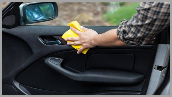 Use a microfiber towel to apply protectant to plastic and leather surface
