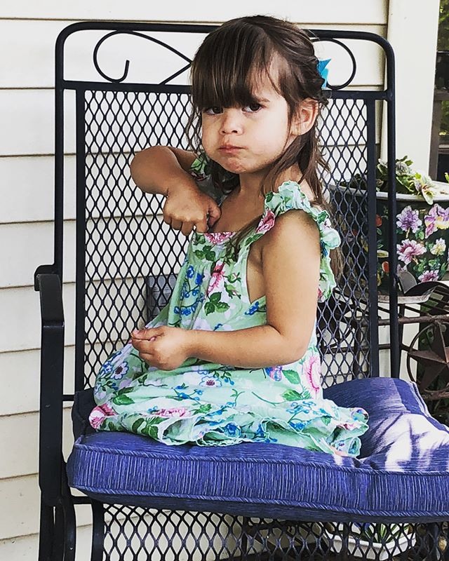 Mischief & laughter 24/7 with this one. Stuffing M&Ms down her dress...wonder where she learned that move. 😂 #Easter #lulufaces #laughter #mischief #joy @poveisi
