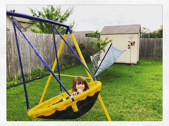 Swingin' into April... #lulu #april #ufoswing #backyard #budaful