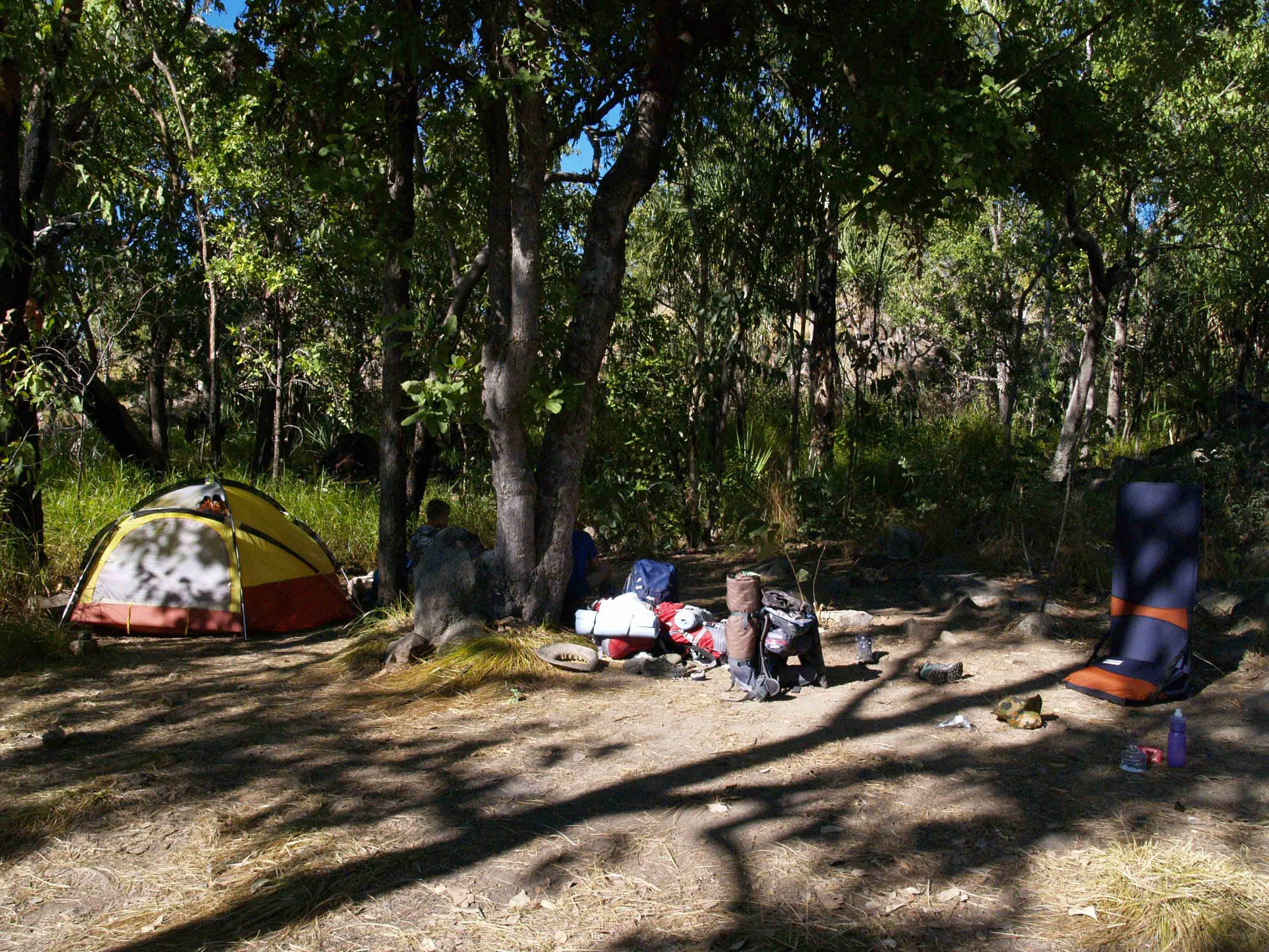 Crystal falls campsite is located next to the river under large shady trees