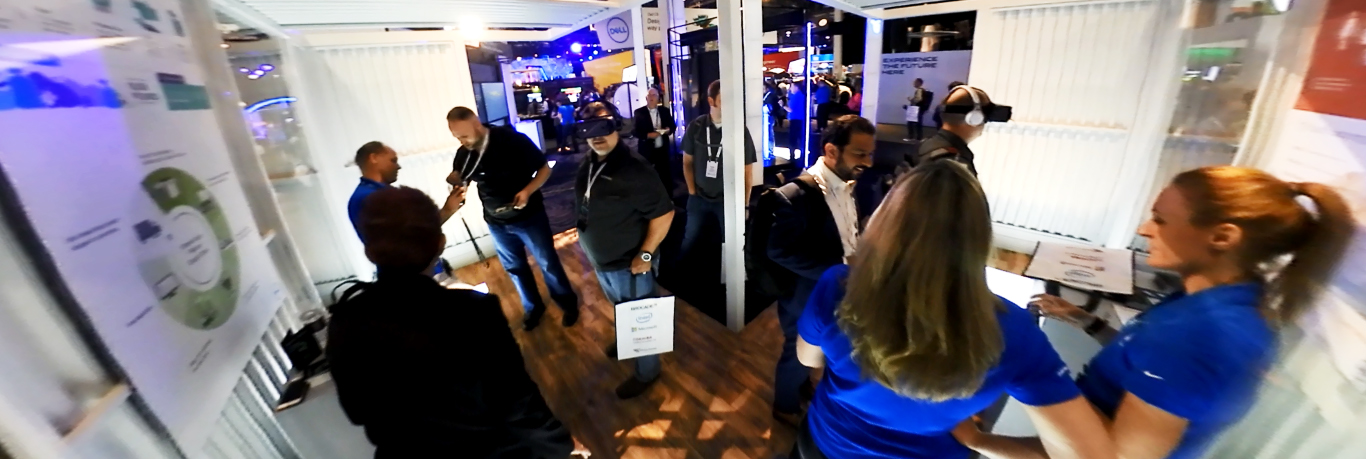 Attendees at the 2017 DELL World - Customer Advocacy Booth - watching the 360° experience.