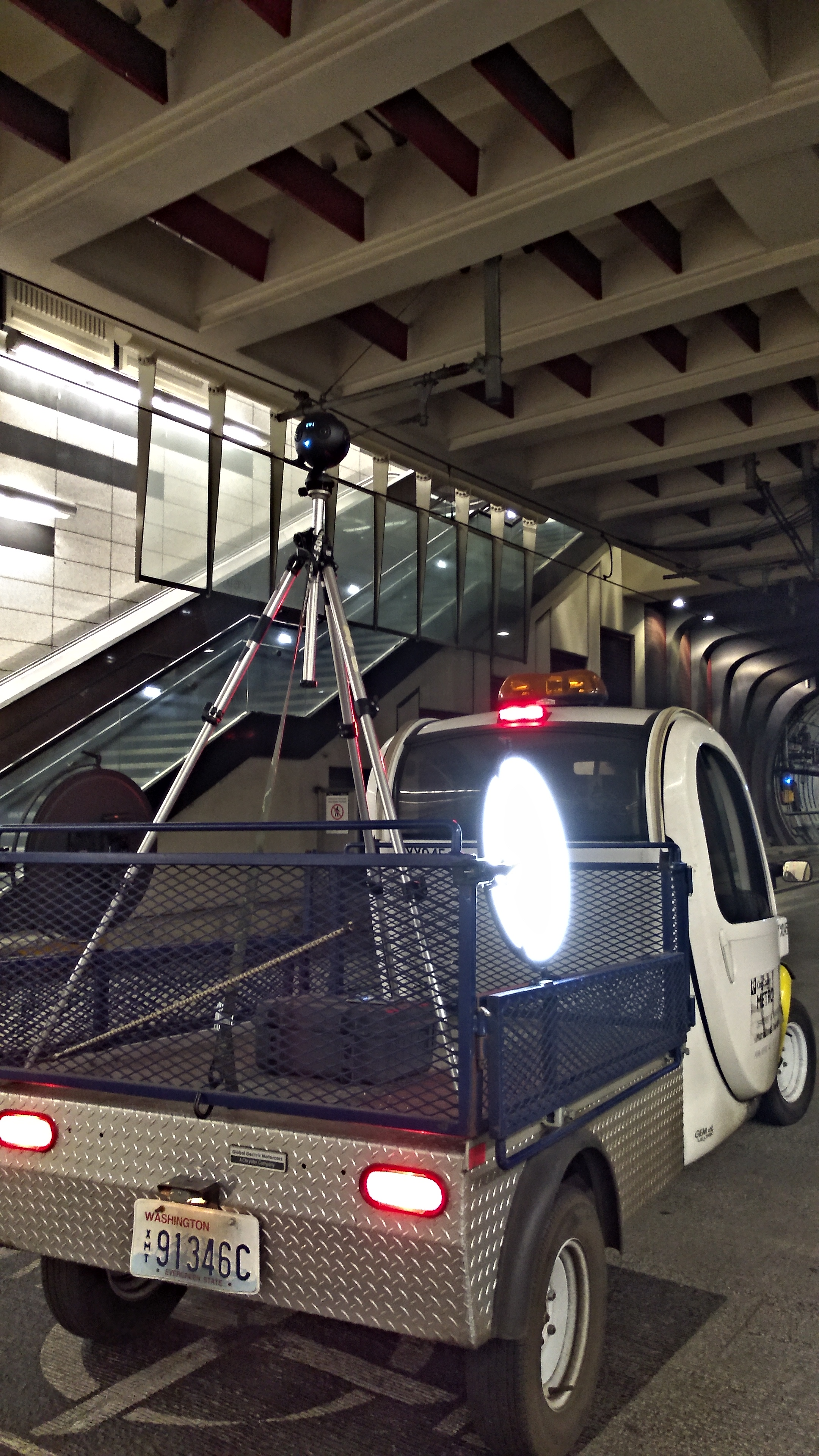 360 camera rig for underground transit shoot