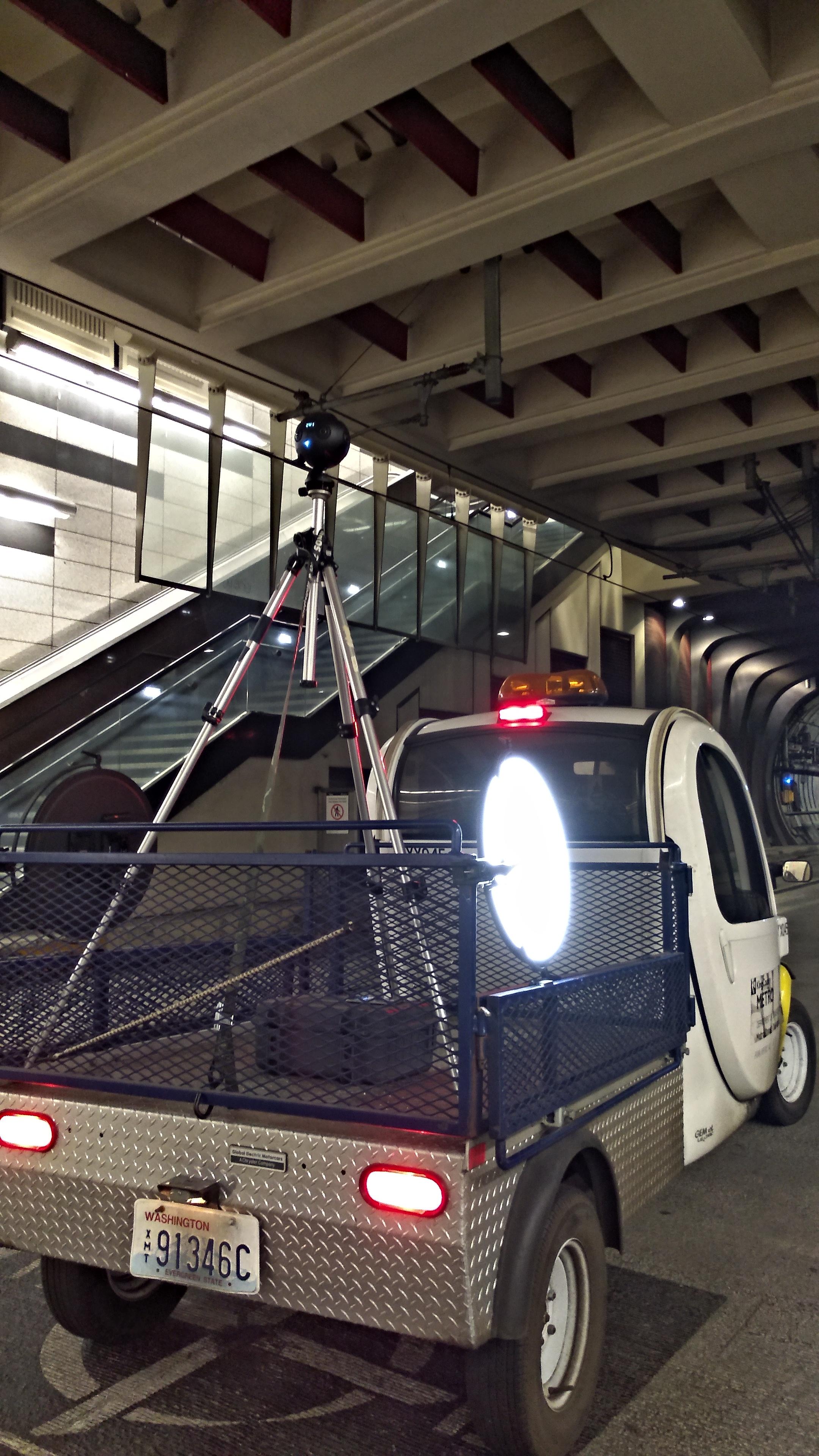 360 camera rig for underground transit shoot