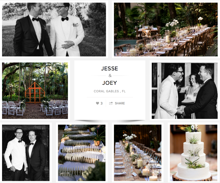 "Check out Jesse & Joey's wedding on ""Carats & Cake."""