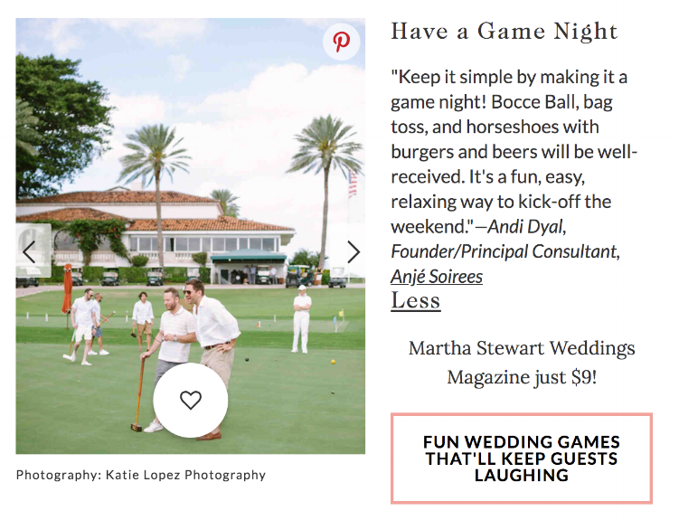 We shared our tips for wedding welcome parties with Martha Stewart Weddings. Check it out!