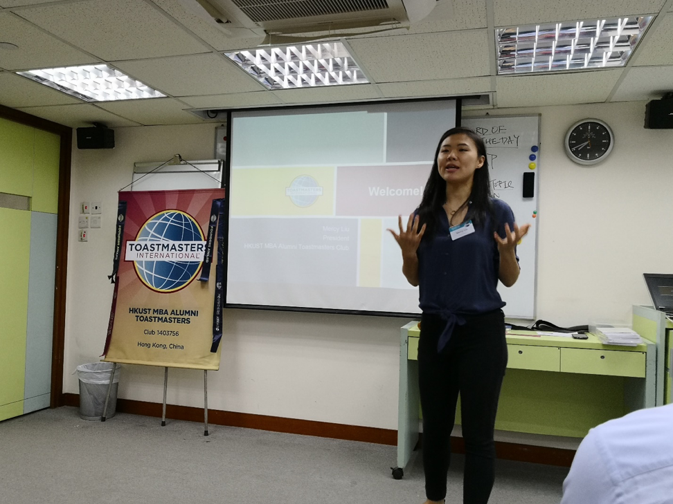 The President of the HKUST MBA Alumni Toastmasters Club, Mercy Liu, opening the event with an introduction of the club