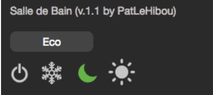 Widget HTML de pilotage d'un boitier Heatzy