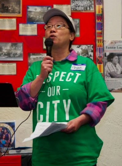Community Member Angie Tam speaking at CBE event in East Oakland. Photo by: Shela Bezalel