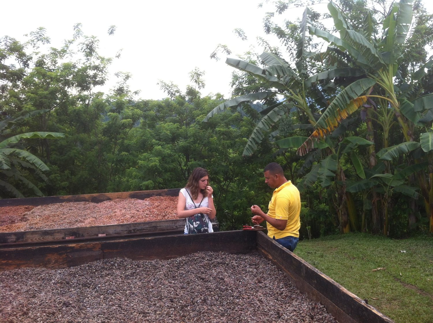 Giulia meeting with a cocoa supply chain stakeholder during one of the field visits in Dom. Rep.