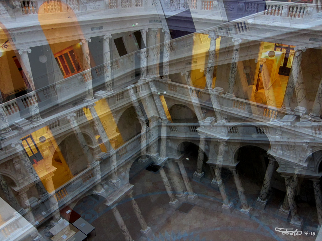 """""""Neue Burg."""" -Photo Overlay. 2016. Vienna.    """"Neue Burg means """"New Palace"""" and this is an overlay of the inner courtyard's arches and lighting. The Habsburg's last palace is now home to museums that feature weaponry, armor, ancient Greek artifacts and musicial instruments."""""""