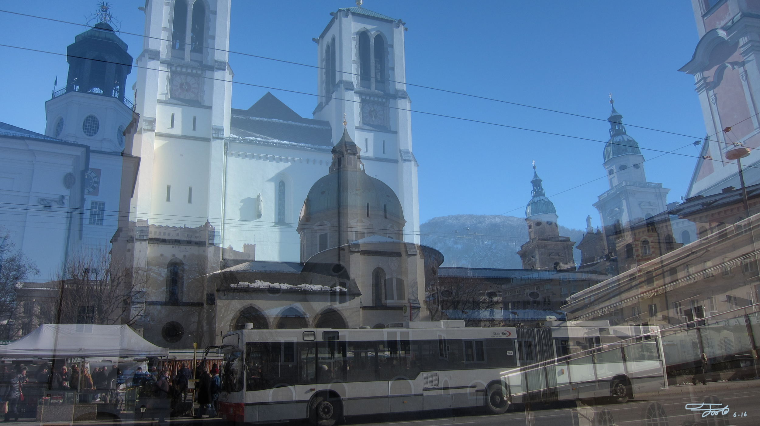 """""""  Kirche St. Andra  ."""" - Photo Overlay. Salzburg. 2016.    """"Kirche St. Andra is a rather modern church by Austrian standards, but it's still an interesting structure on the Mirabellplatz. I find that the trolleybus serves as a nice contrast, especially with the wires creating a flow. The farmers market is in full swing on the left and the mountains can be seen in the background."""""""