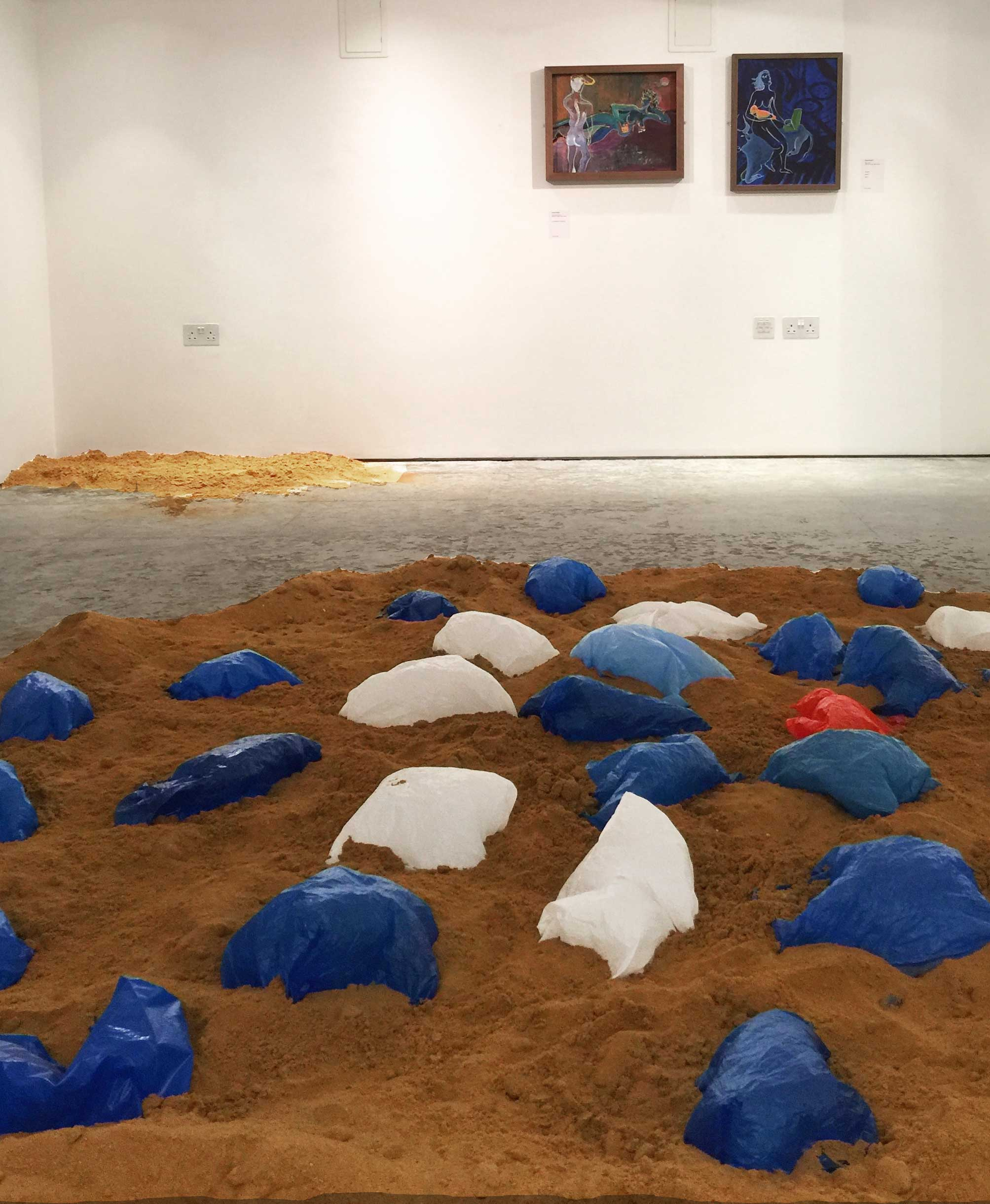 'Foreign Bodies' ©Souheil Sleiman (front) address environmental problems as well as the ongoing refugee crisis. The plastic bags seemingly abandoned at sea come alive by inflating and deflating throughout the day, in consequence with changes in ambient temperature.