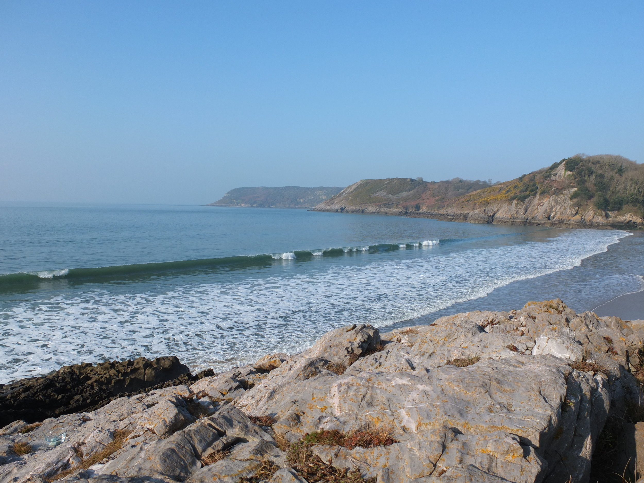 Caswell Bay during the Solar Eclipse and Spring Equinox, 2015.