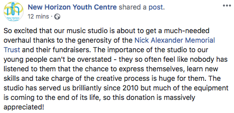 """The importance of the studio to our young people can't be overstated…"" - - New Horizon Youth Centre"