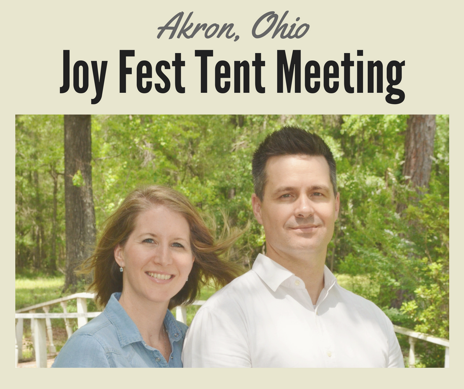 August 16 - 18, 2018 Weidner Ministries is sponsoring an outdoor tentmeeting *Joy Fest* in Akron, Ohio partnering with Celebration Church and host Pastors Zach and Heather Prosser. Partner with us believing God for many salvations and miracles.   Event partnership   app. $6,000.