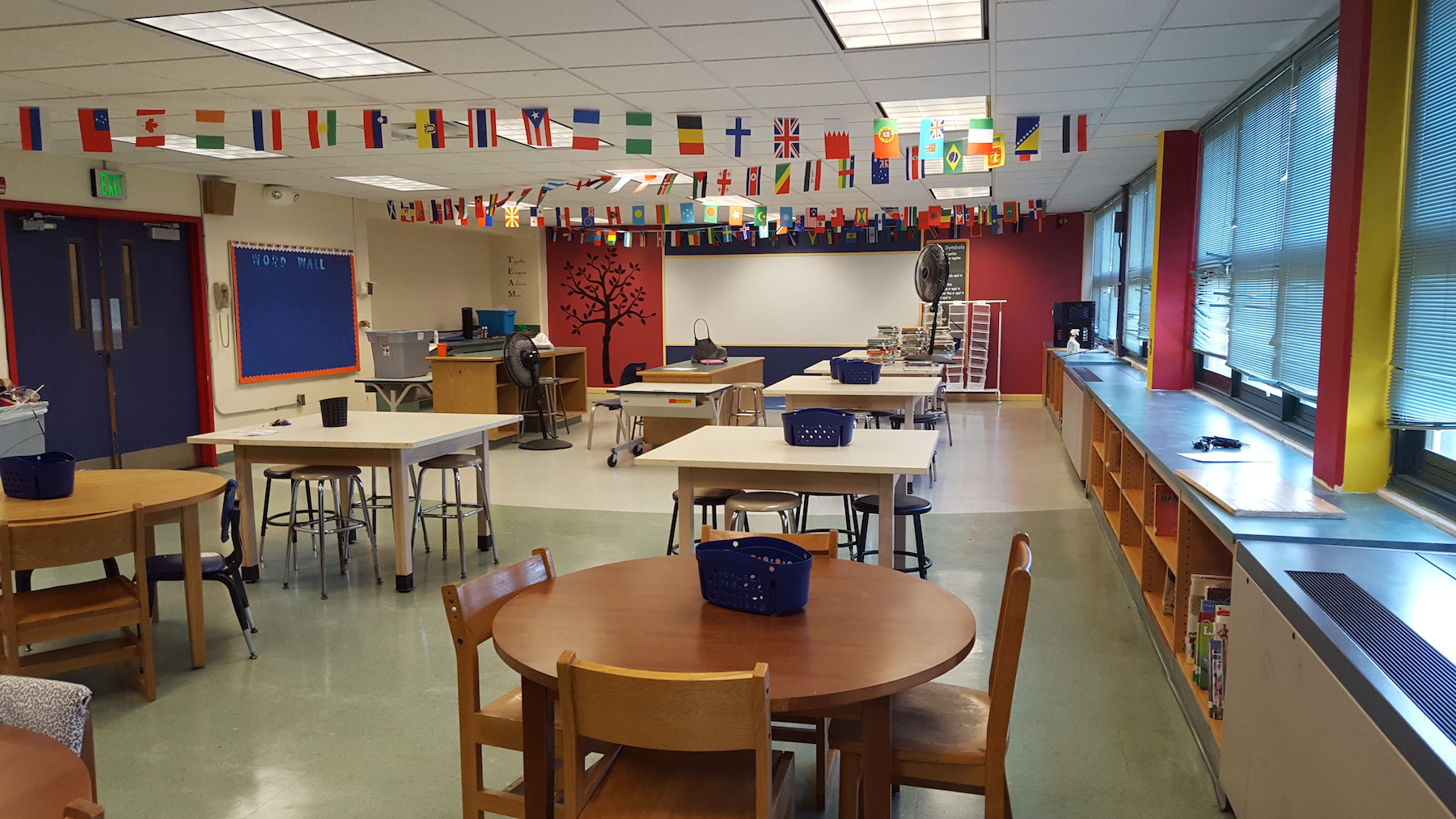 classroom with flags at baltimore collegiate