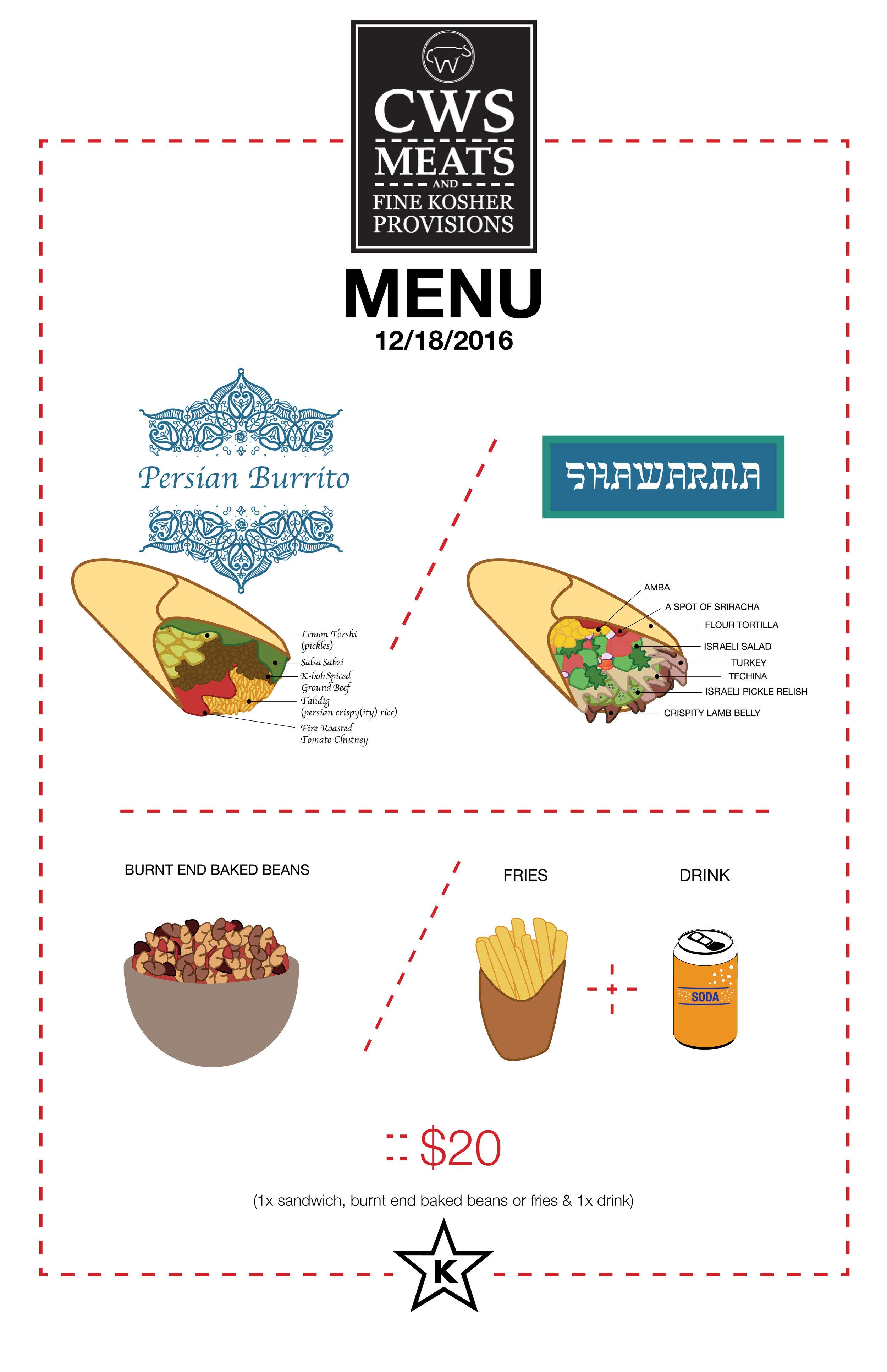CWS menu 12/18/16