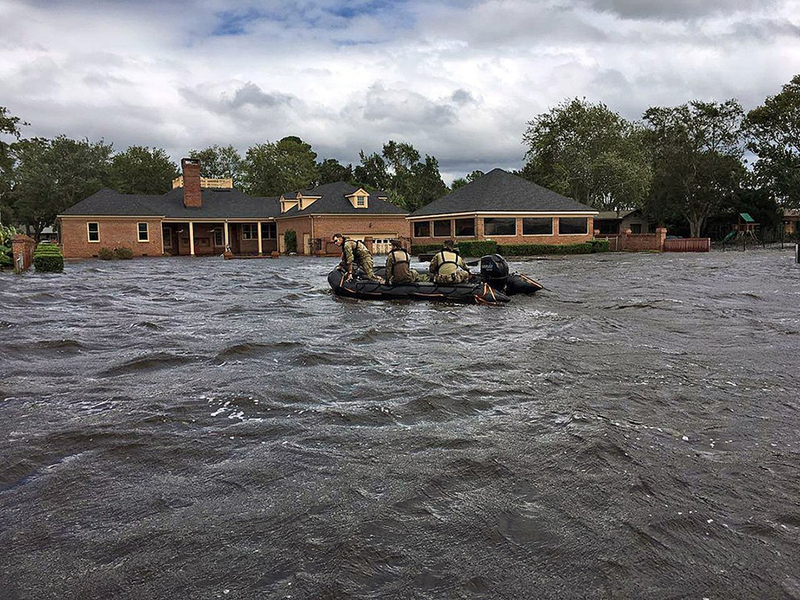 Florida National Guard soldiers conducting a rescue operation near Jacksonville, Florida, after Hurricane Irma. -  Courtesy the Florida National Guard