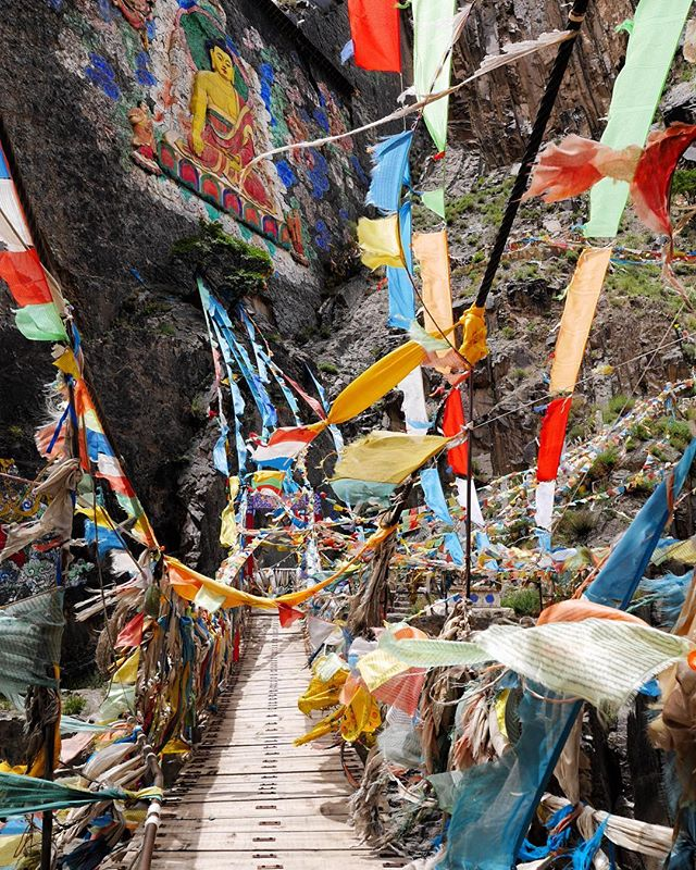 The small roads through the Tibetan plateau hold hidden shrines around every corner. Walking across this bridge we were met with a 20 meter high painting of the Buddha on a sheer cliff face. . . . . . . . #tibetanplateau #prayerflags #buddha #shrine #nomad #worldbybike #neverstopexploring #bicycletouring
