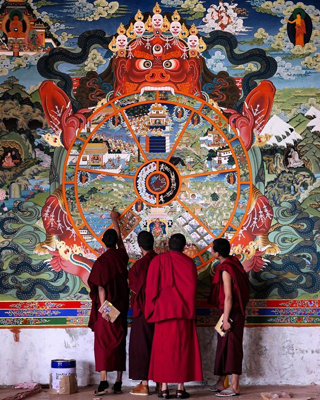 We were lucky enough to walk into the Litang Chode Monastery while hundreds of monks and artisans were restoring the beautiful building to its former glory after a recent fire. Watching them work on the intricate paintings was mesmerising . . . . . . . . . #painting #monks #artisans #buddhism #monastery #litang #tibet #tibetanplateau
