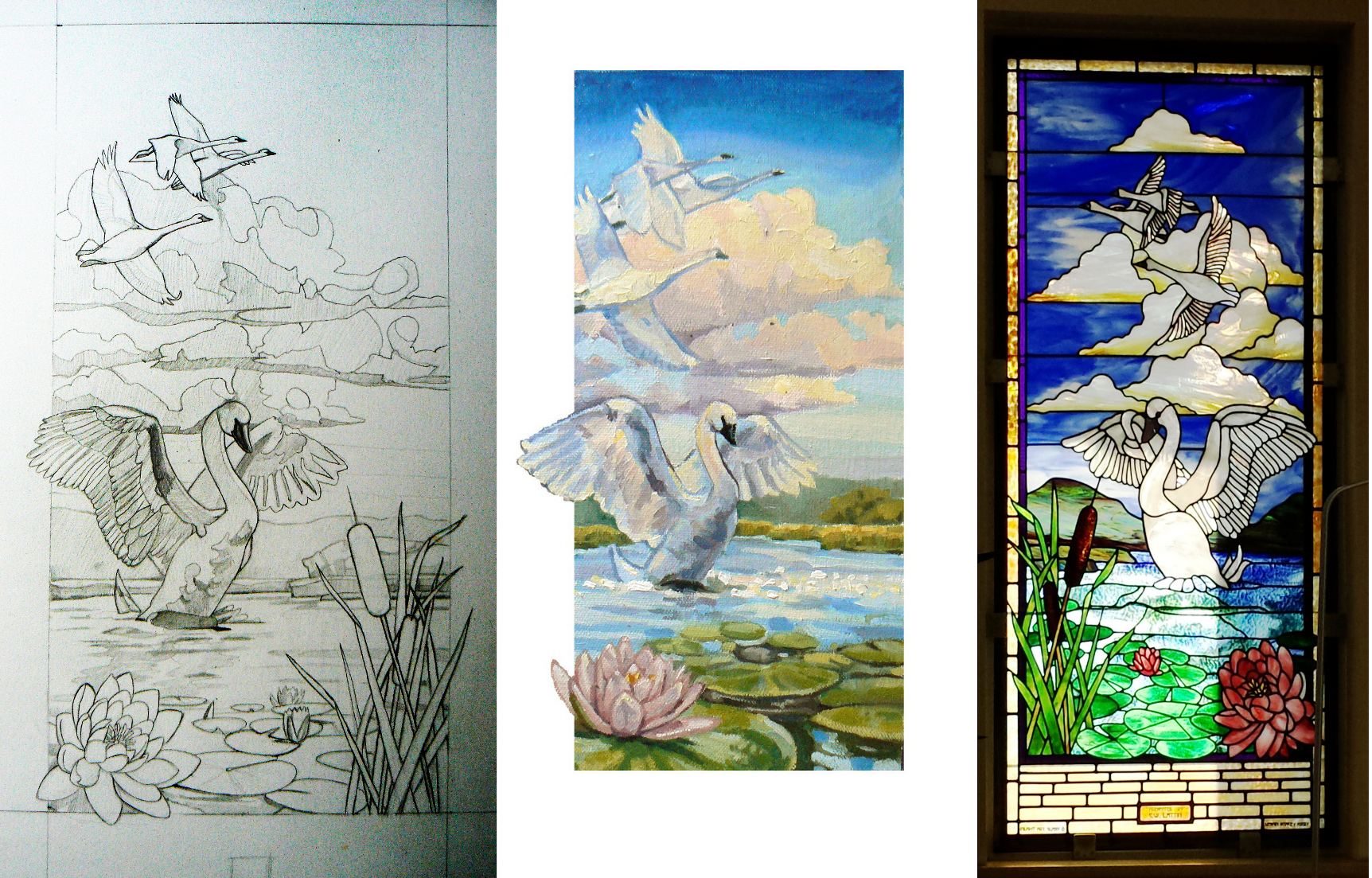 Albion Swan Library Stained Glass Window Design