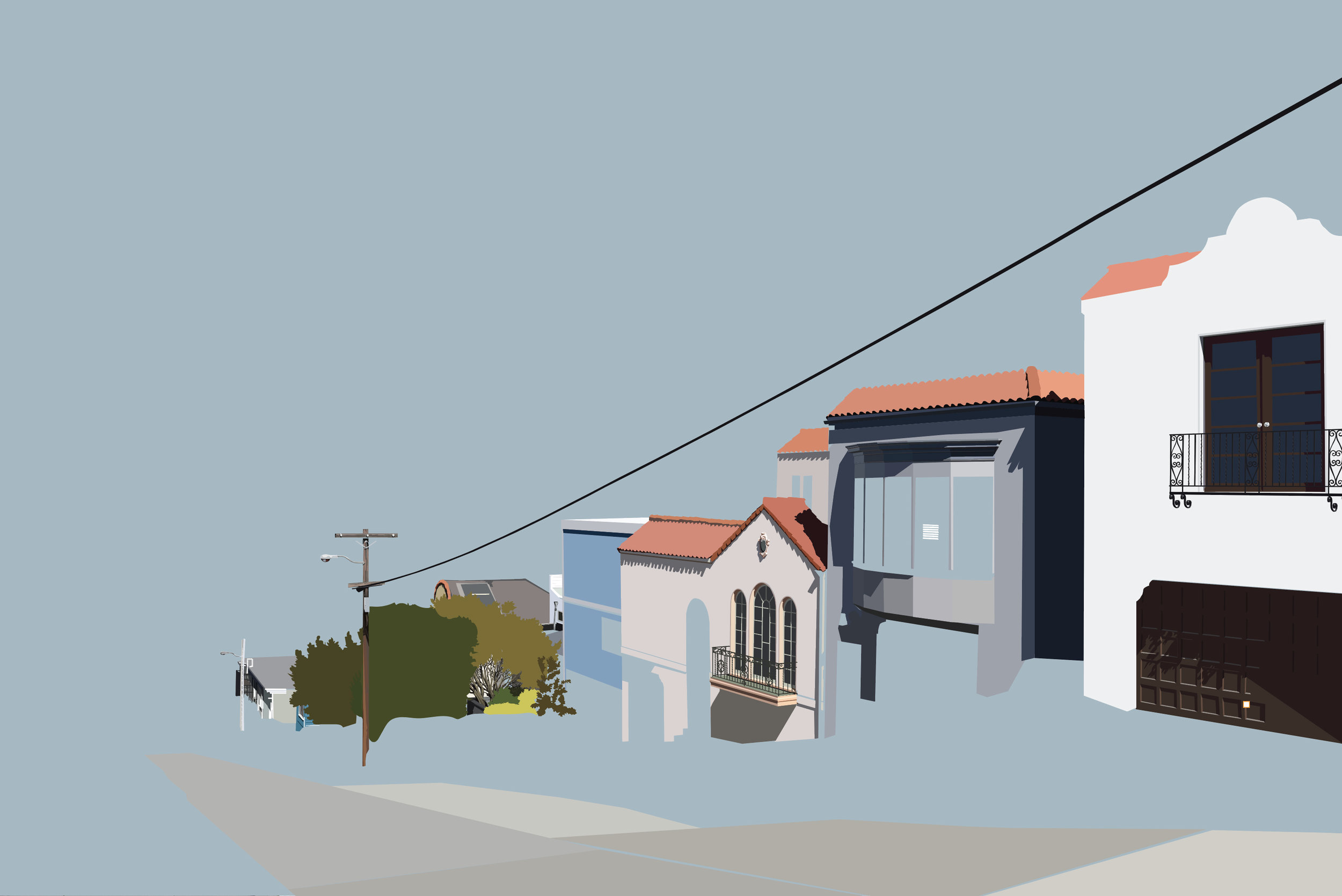 Sharing an in-progress cityscape vector project I'm working on. Houses along Collingwood in San Francisco.