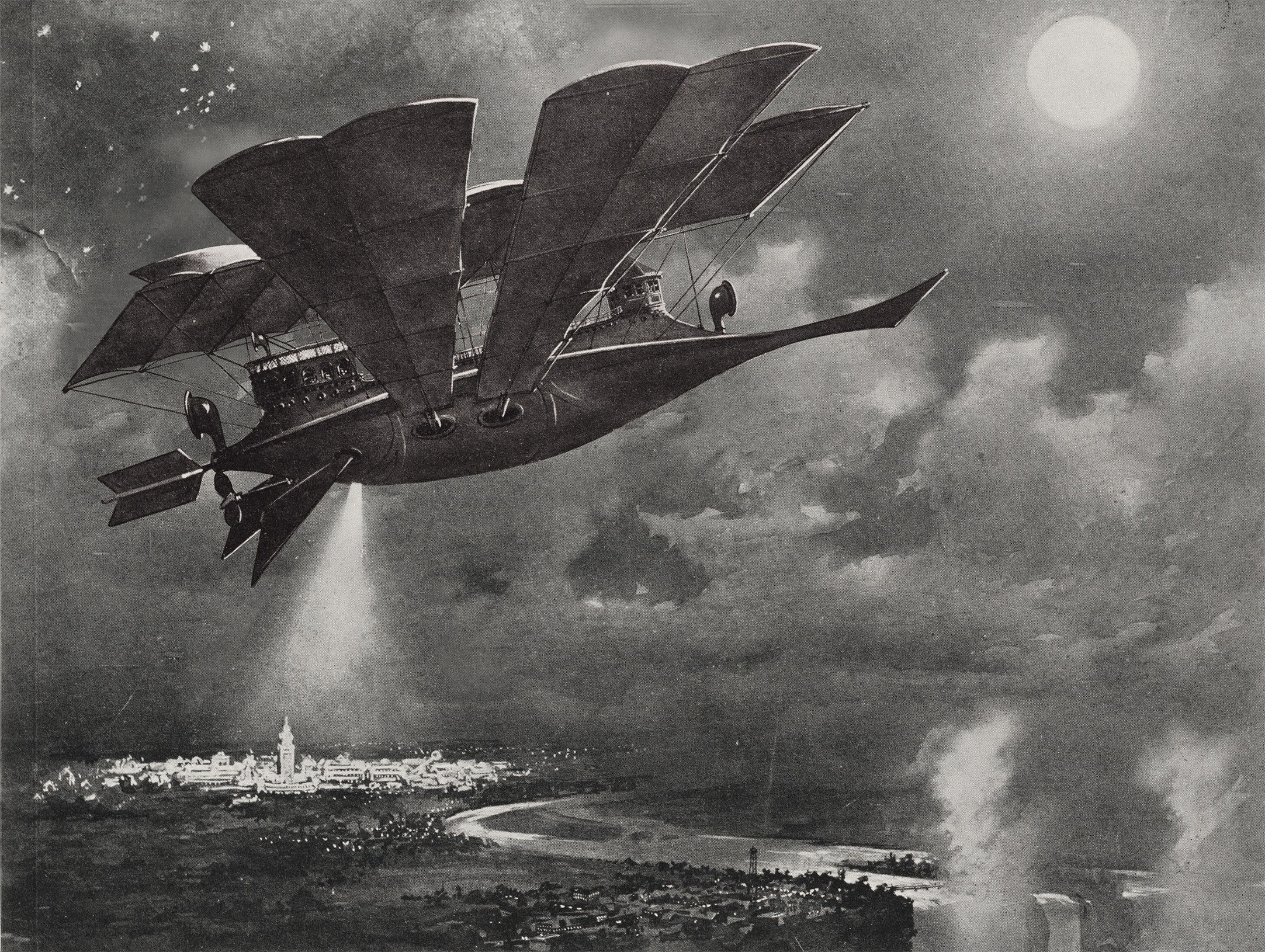 Artists rendering of the original Coney Airship designed by Fred Thompson