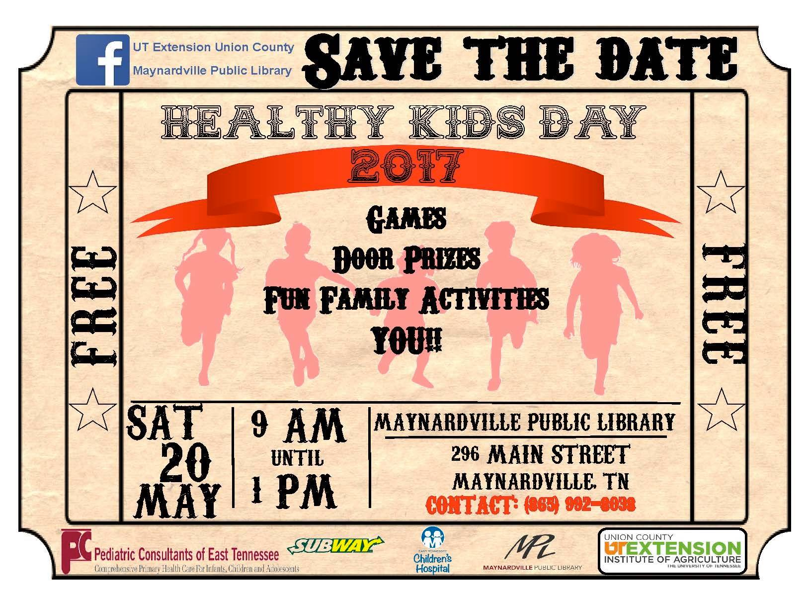 This event is open for all ages and is to promote a healthy lifestyle among our youth. Learn about different resources in the county, healthy eating, activity, fire safety and much more.        pin     Maynardville Public Library