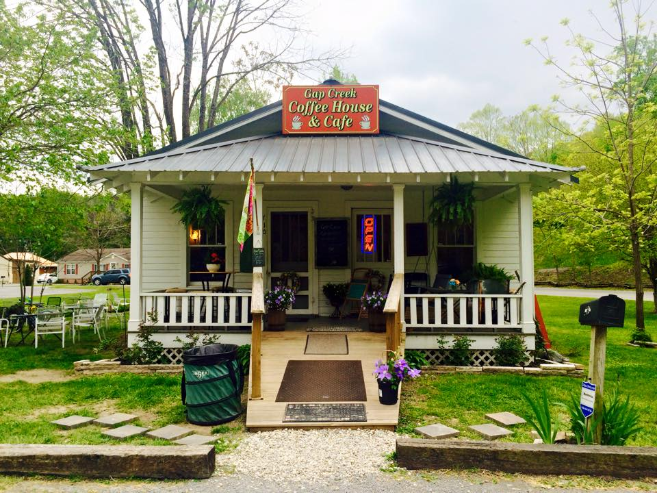 Gap Creek Coffee House & Cafe  710 Pinnacle Aly, Cumberland Gap, Tennessee  (423) 801-3100  Enjoy the comforting sounds of Gap Creek while sitting on our front porch swing, gazing at the panoramic view of the Pinnacle Overlook.  MEMBER Cumberland Gap Region Tourism Association