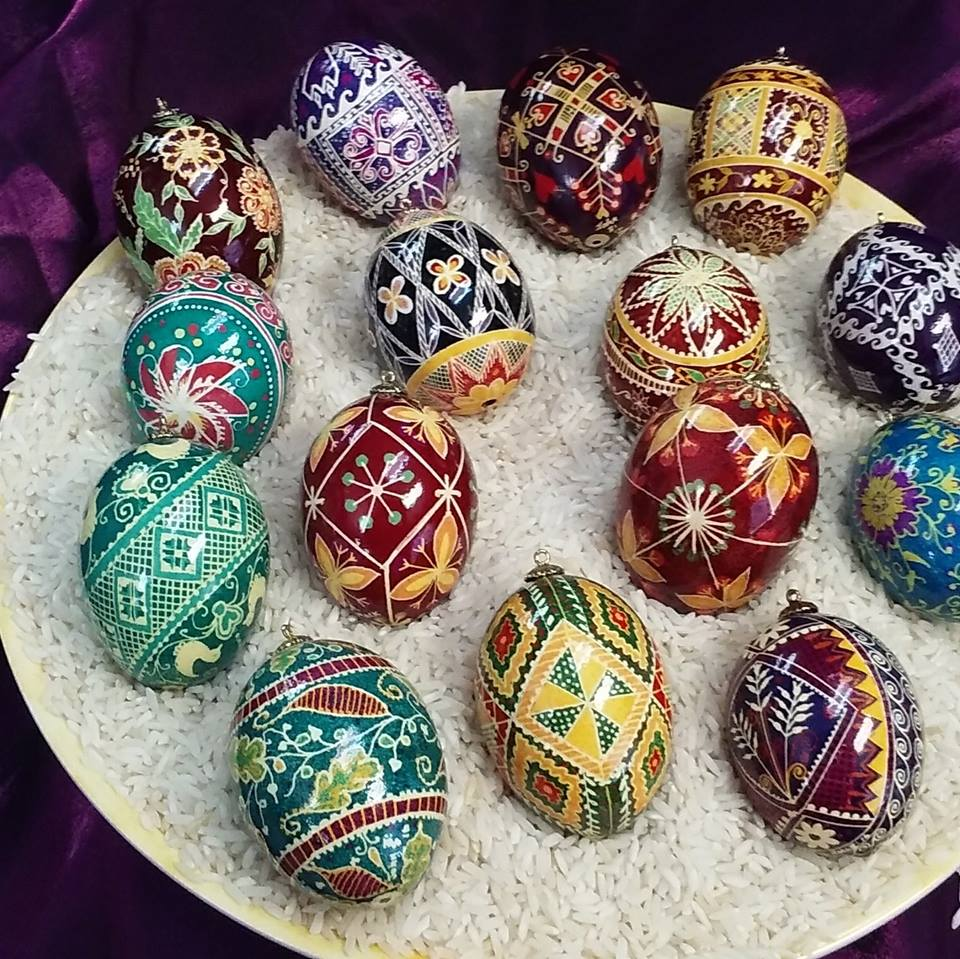 "Diane Mack  Mack.Diane7@gmail.comPysanky Style Decorated Eggs. Pysanky means ""to write"". The egg is decorated by hand with a wax resist dye technique involving a series of dye baths and waxing. She learned this technique as a child from her Coratian grandmother. 40 years later, she says, ""after finding the tool my dad made for me to ""write"" on the eggs, I rekindled my love for the art"". These unique eggs make wonderful gifts."