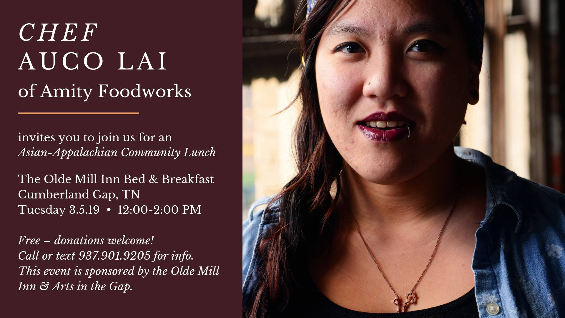 Join The LEE Initiative fellow and founder of Amity Foodworks, Chef AuCo Lai, for a community lunch at The Olde Mill Inn Bed and Breakfast on Tuesday March 5, 12pm! AuCo will bring her flair and knowledge of regional foodways and international cuisine to this fun, informal pop-up event: a traditional Appalachian soup-beans meal prepared with Asian ingredients. This event is free and open to the public!   https://www.facebook.com/events/383141459177715/