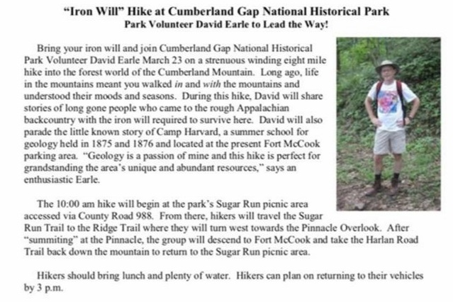 Cumberland Gap National Park  Middlesboro, KY  For more information call 606-246-1075