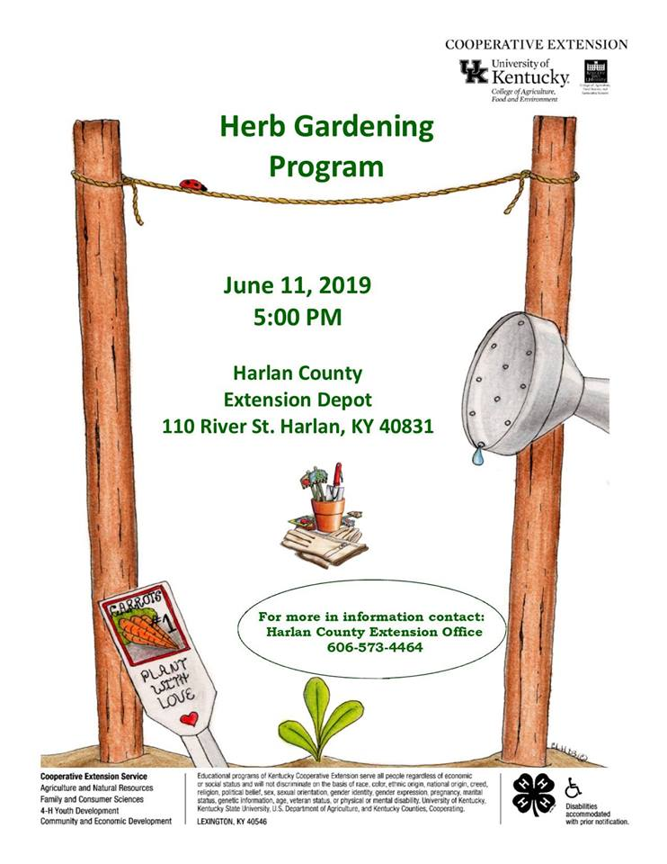 Join us to learn more about raising herbs in your garden, home or on your front porch.
