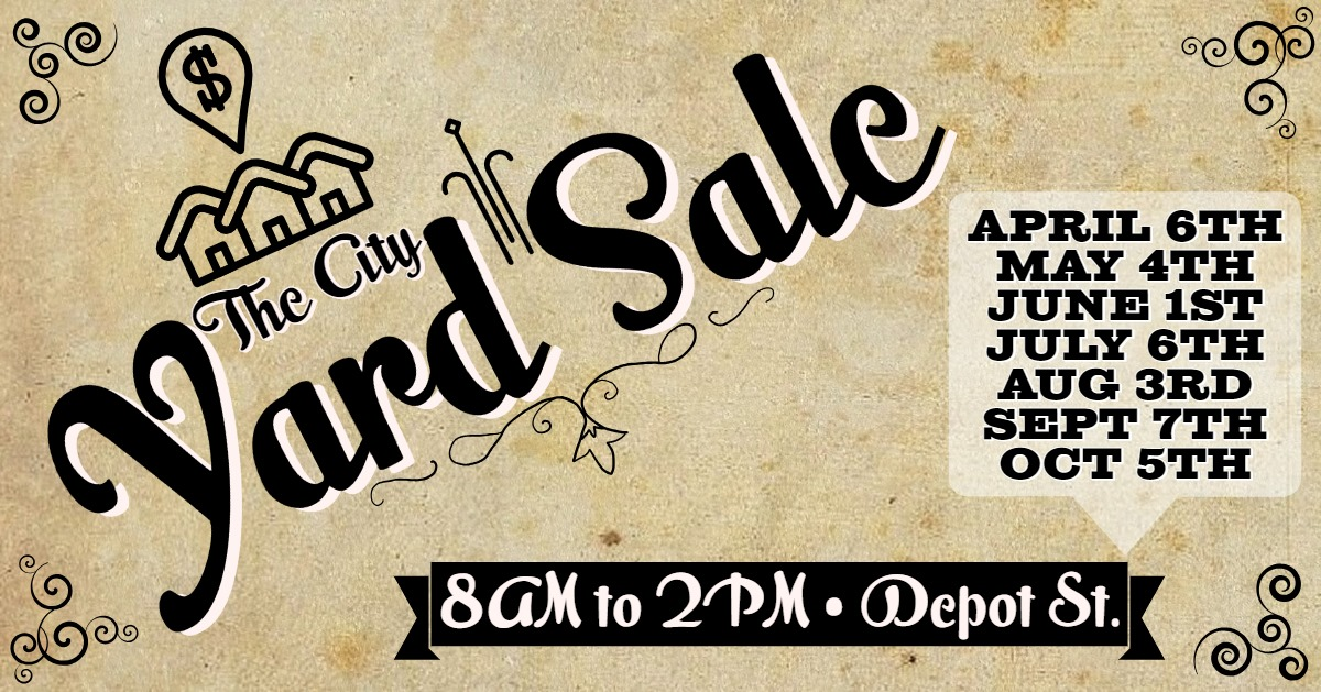 Come set up and/or shop at the Downtown Corbin City Yard Sale! Remember that setup is free but you need to be there between 7am and 8am and within the saw horses from 4th St. to Gordon. The event ends at 2pm and we do ask that everyone cleans up their site at the end of the sale. Thanks and see you there!