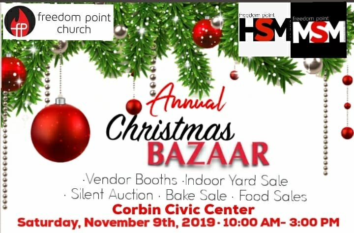 Mark your calendars and make plans to join us for our Annual Christmas Bazaar Saturday, November 9, 2019 from 10:00am-3:00pm! We will have lots Vendors, Indoor Yard Sale, Silent Auction, Bake Sale, and Food Sales. You don't want to miss it! If you have any questions, please call 606-261-7202