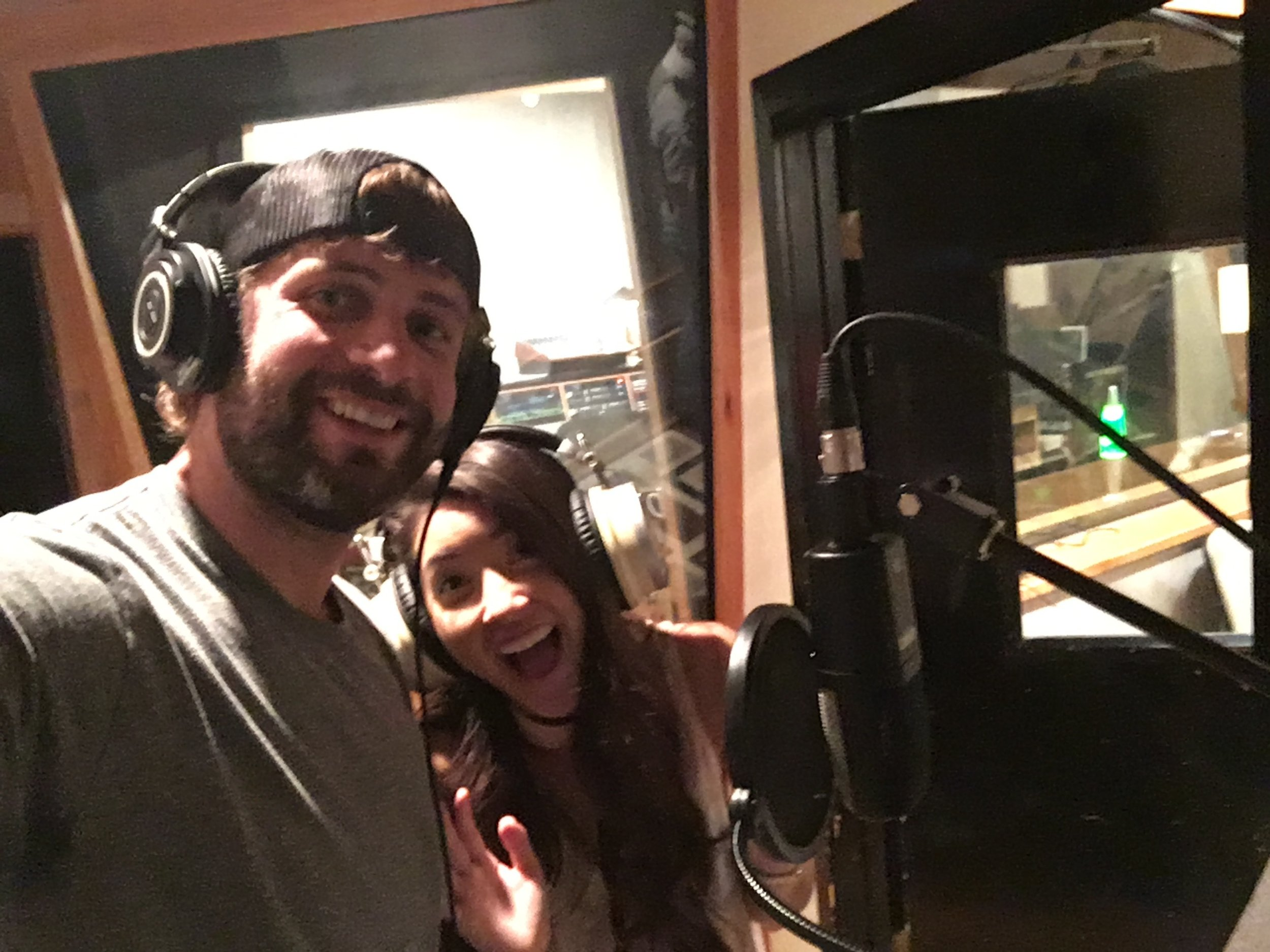 Tasji and I recording vocals in the studio