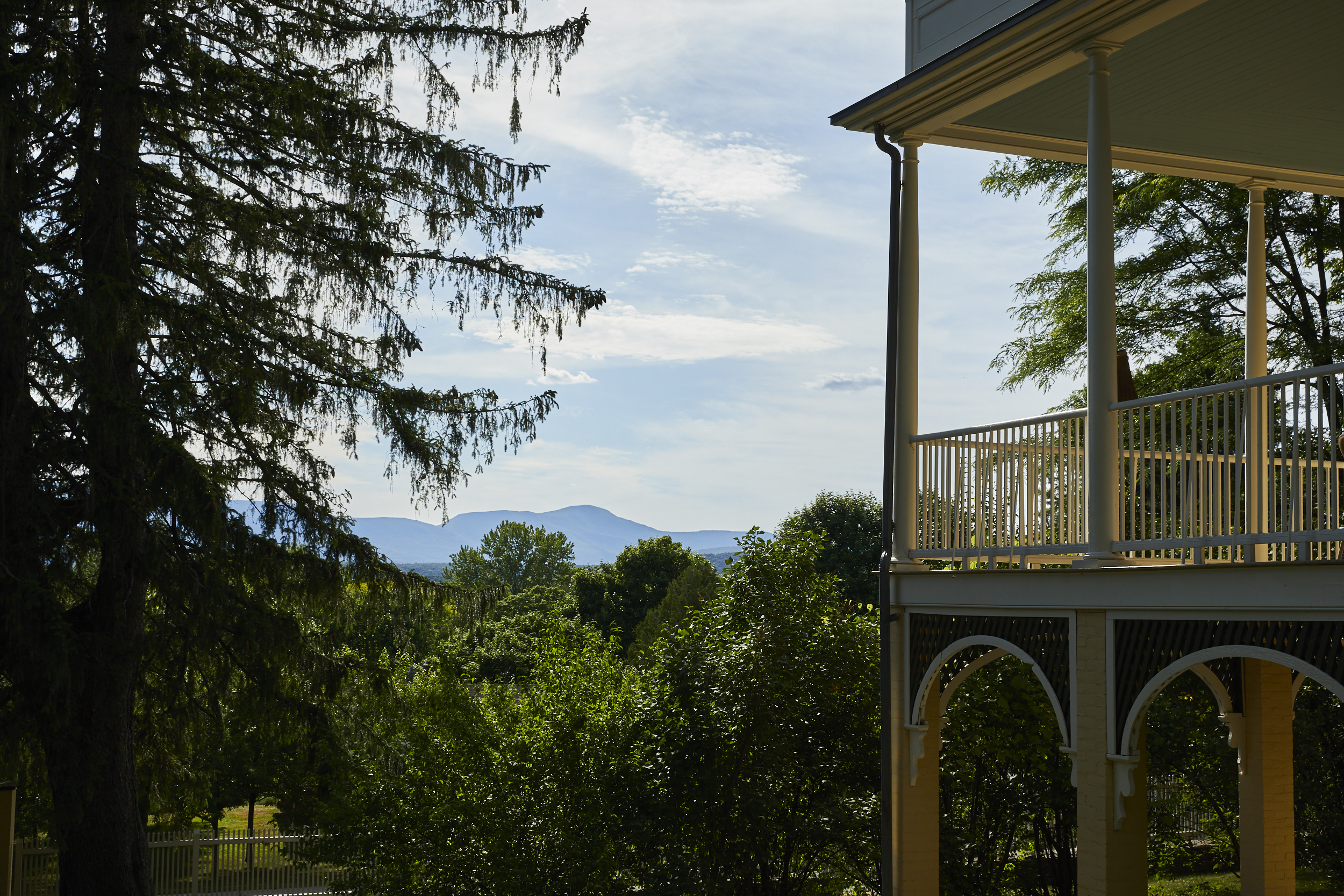 The view from the grounds of the Thomas Cole House.