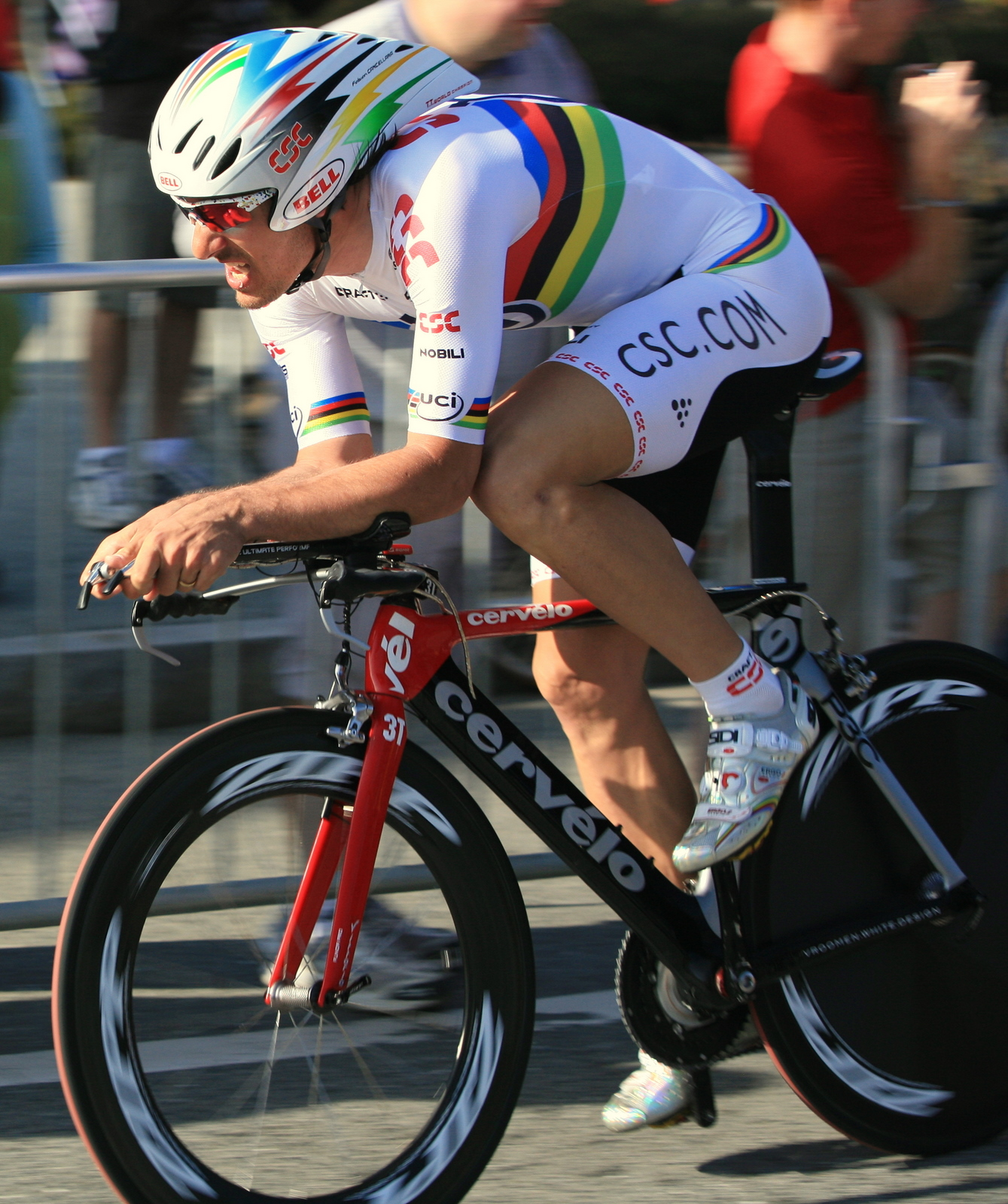 Fabien Cancellara on board a 3T equipped Cervelo at the 2008 Tour of California