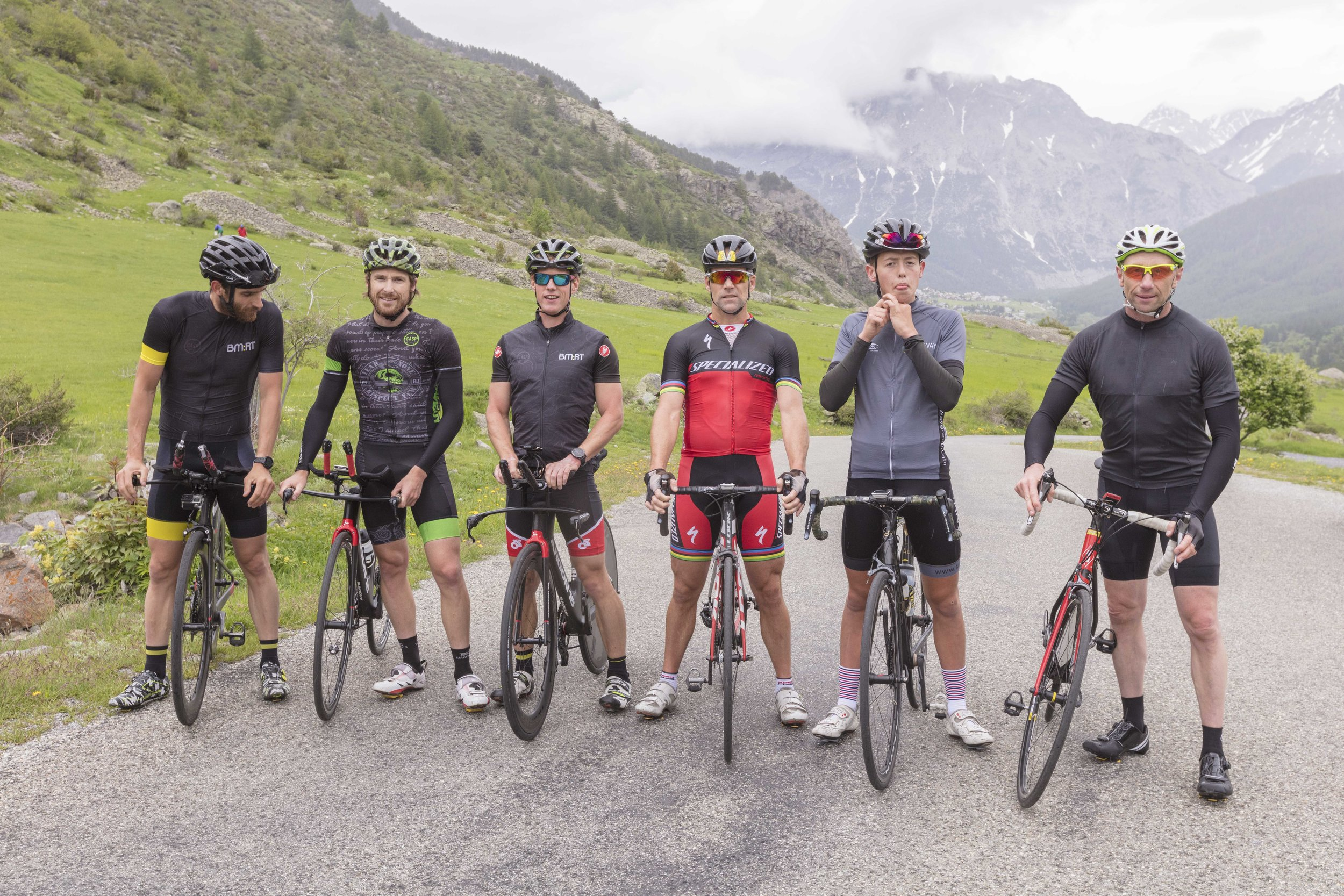 The boys after a little climb at the end of a largely flat Vallee Claree effort. Photo  Ben Hodson .
