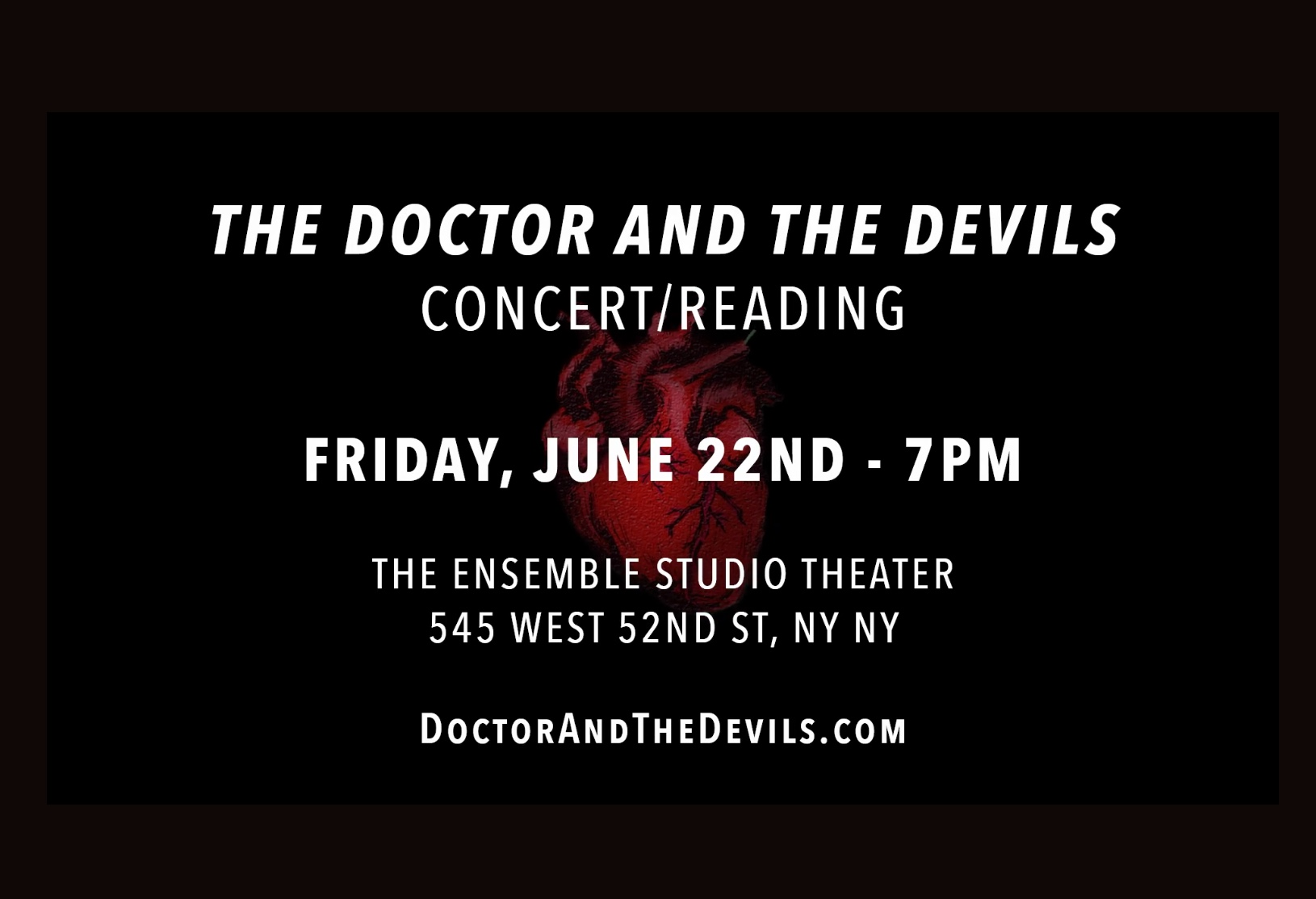 """I created, apadpted and produced """"The Doctor and the Devils"""", by Dylan Thomas. I'll also be performing in the concert/reading on June 22nd. See my PROJECTS page for more information."""