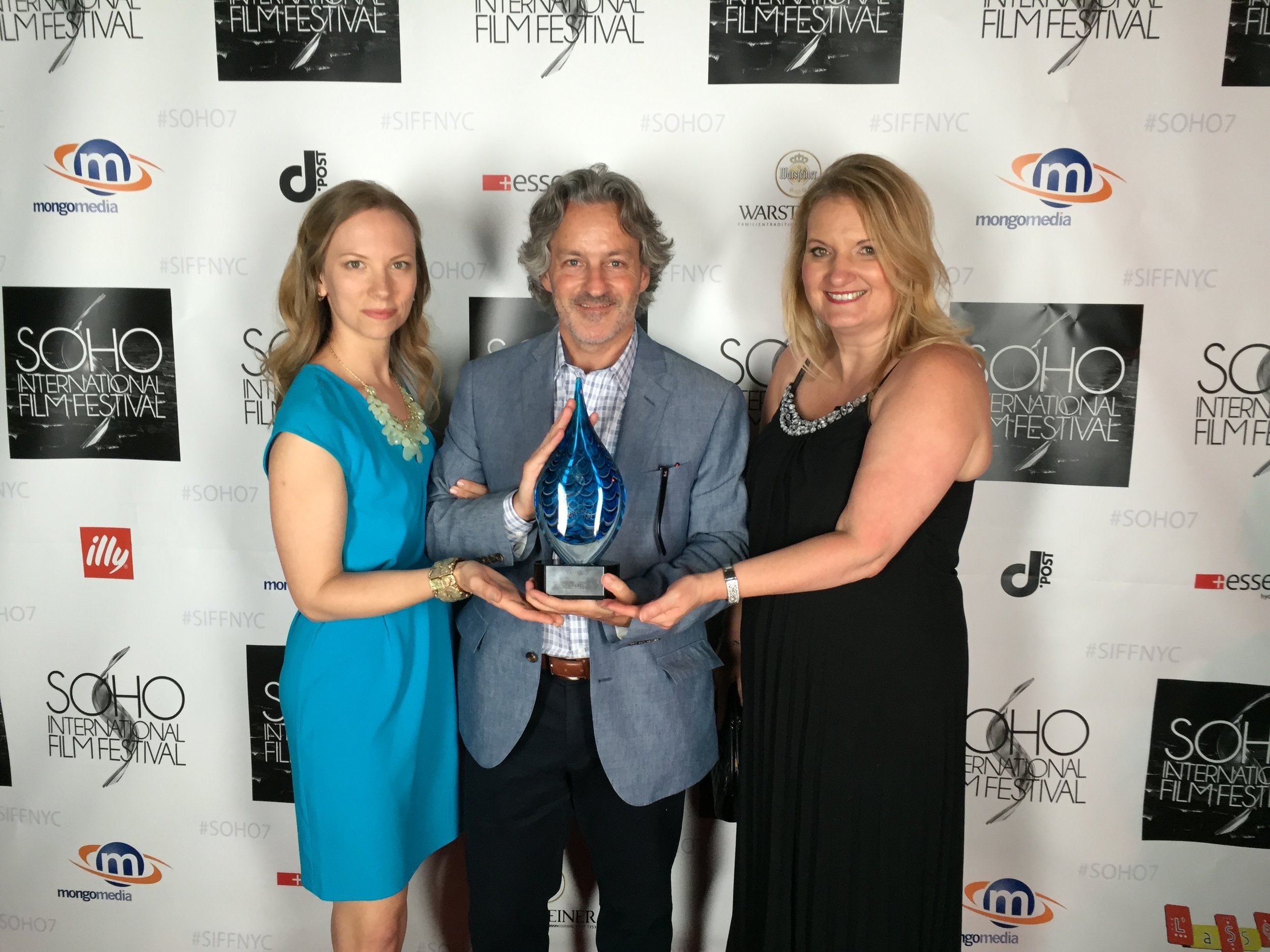 """Accepting the Audience choice award for BEST FEATURE at the Soho International Film Festival for """"79 Parts"""", with producer John Overend and Casting director Donna McKenna."""