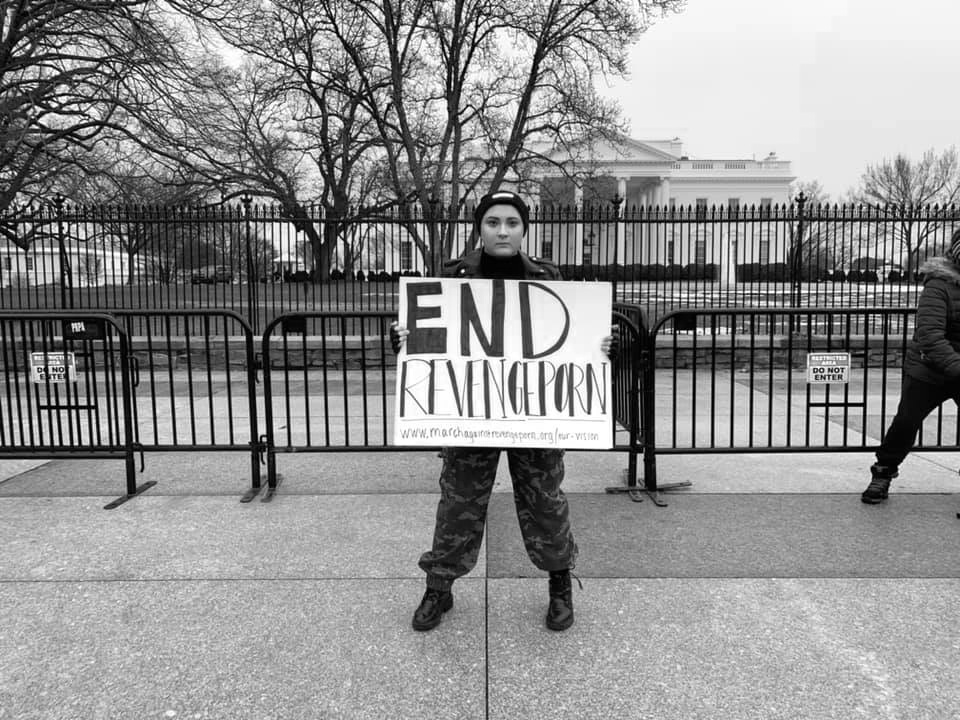 Founder Leah Juliett protesting for federal revenge porn legislation in front of the White House, 2019.