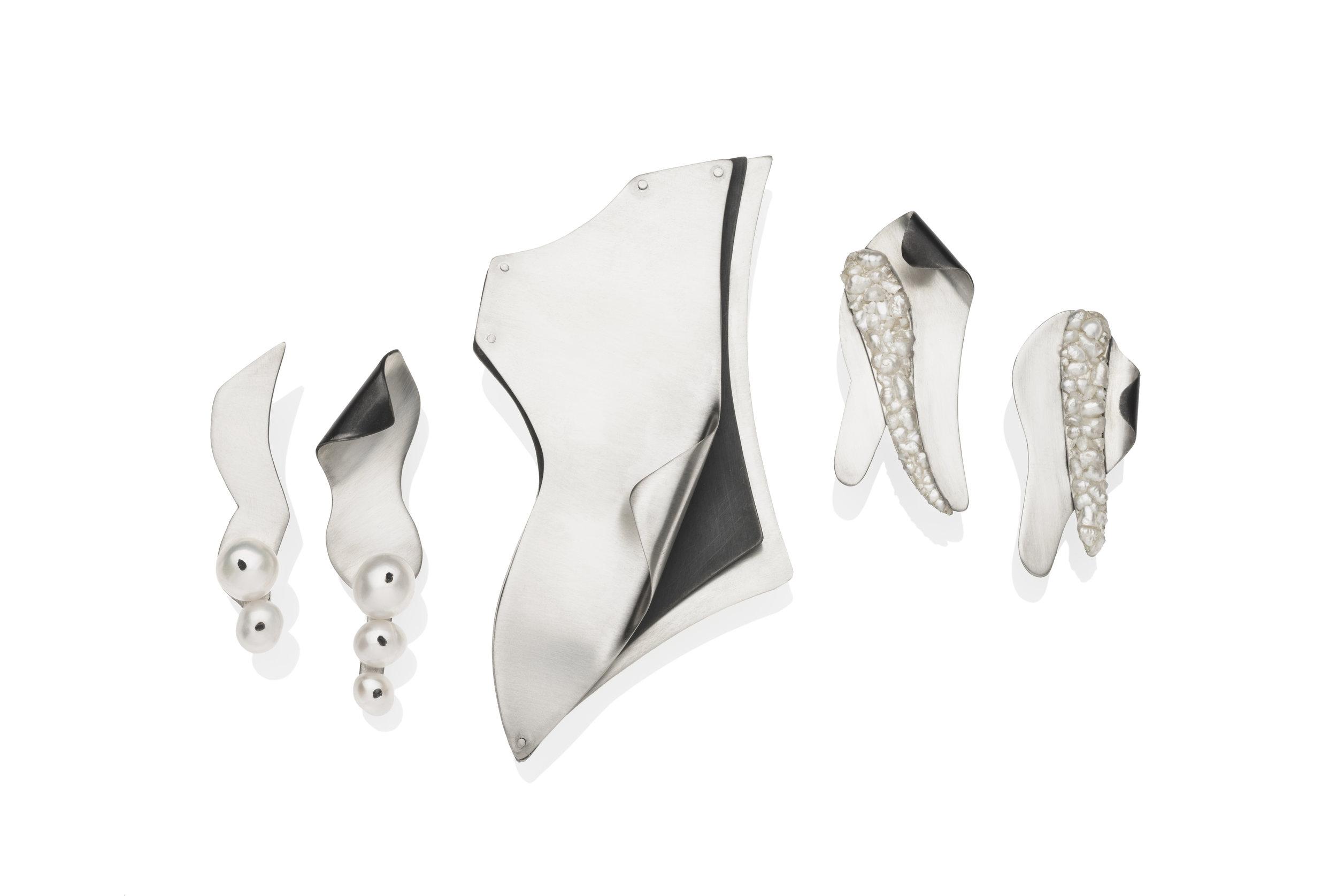 Bridgette Shepherd,  Contour Series Earrings and Brooch