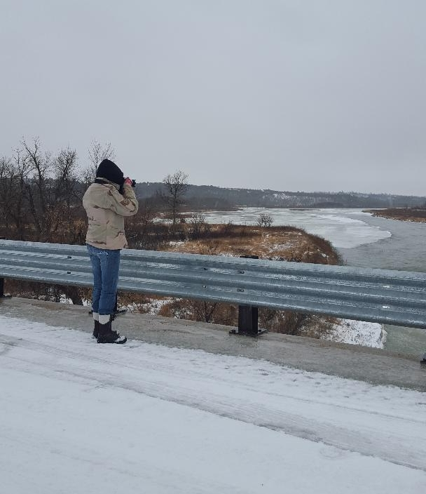 Janette shooting on January 14, 2018 shooting at the Norden Bridge along the Niobrara River in the rain. Check out my new boots. They really kept me warm today.