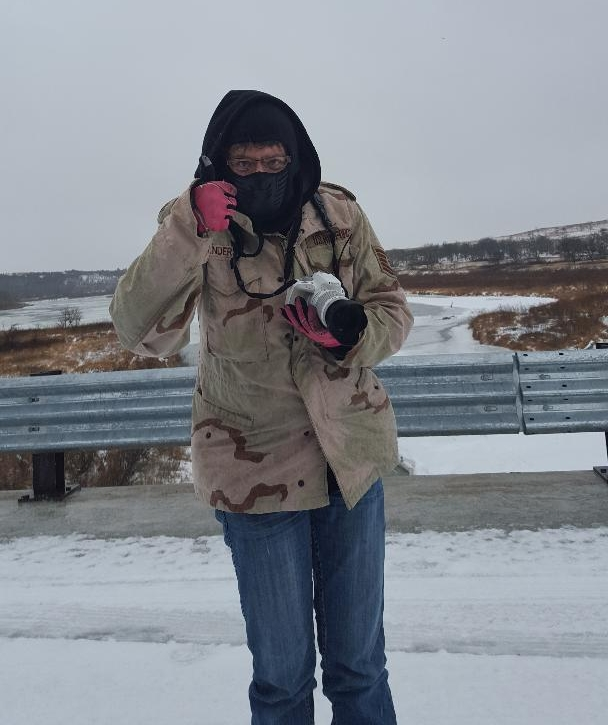 I gave my hubby thumbs up after shooting at the Norden Bridge on January 4, 2018. I had been out for over 2 hours and blessedly still wasn't cold. Layering works! LOL!