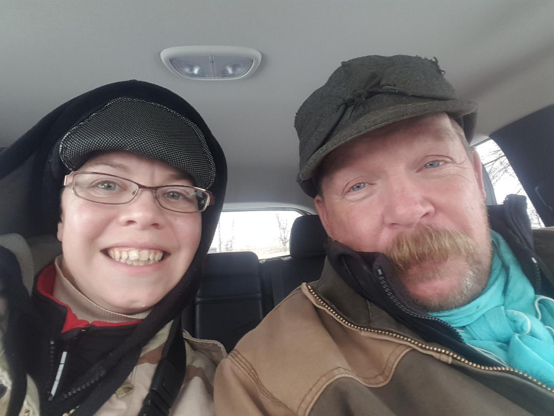 Me with Hubby on January 14, 2018 shooting along the Niobrara River in the rain.