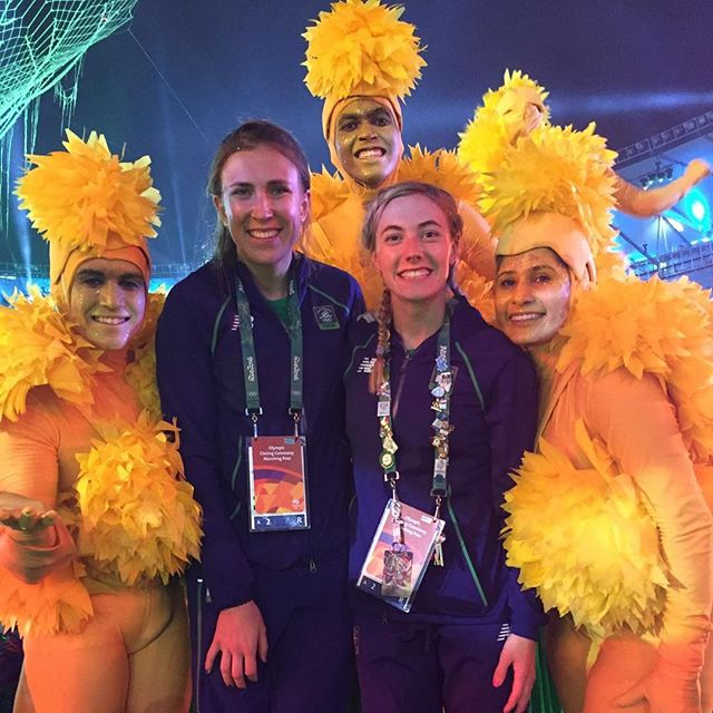 @natalyacoyle and I a year ago at the closing ceremony in Rio! Tal is at her worlds in Cairo now, she was also considerably better at the Olympic pin collecting then me! #doubleolympians #wearesurroundedbygiantchickens
