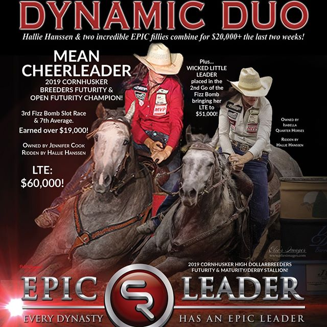 EPIC progeny are posting solid performances every week and earning BIG!  2020 breeding contracts will be available October 1.  For more information, contact Brazos Valley Stallion Station, 254-485-8280, BrazosValleyStallionStation@gmail.com, www.EpicLeader.net, 979-977-EPIC.  #bhn #barrelhorsenews #kassiemowry #DDBHC™ #SelectStallionStakes #barrelracer #horsetraining #aqha #apha #horsesofinstagram #barrelracer #barrelhorses #barrelracing #equineathlete #horsemanship #aqhaproud #performancehorse #rodeo #quarterhorses #equine #ranchhorse @kkschiller @schillerranch @mowrykassie