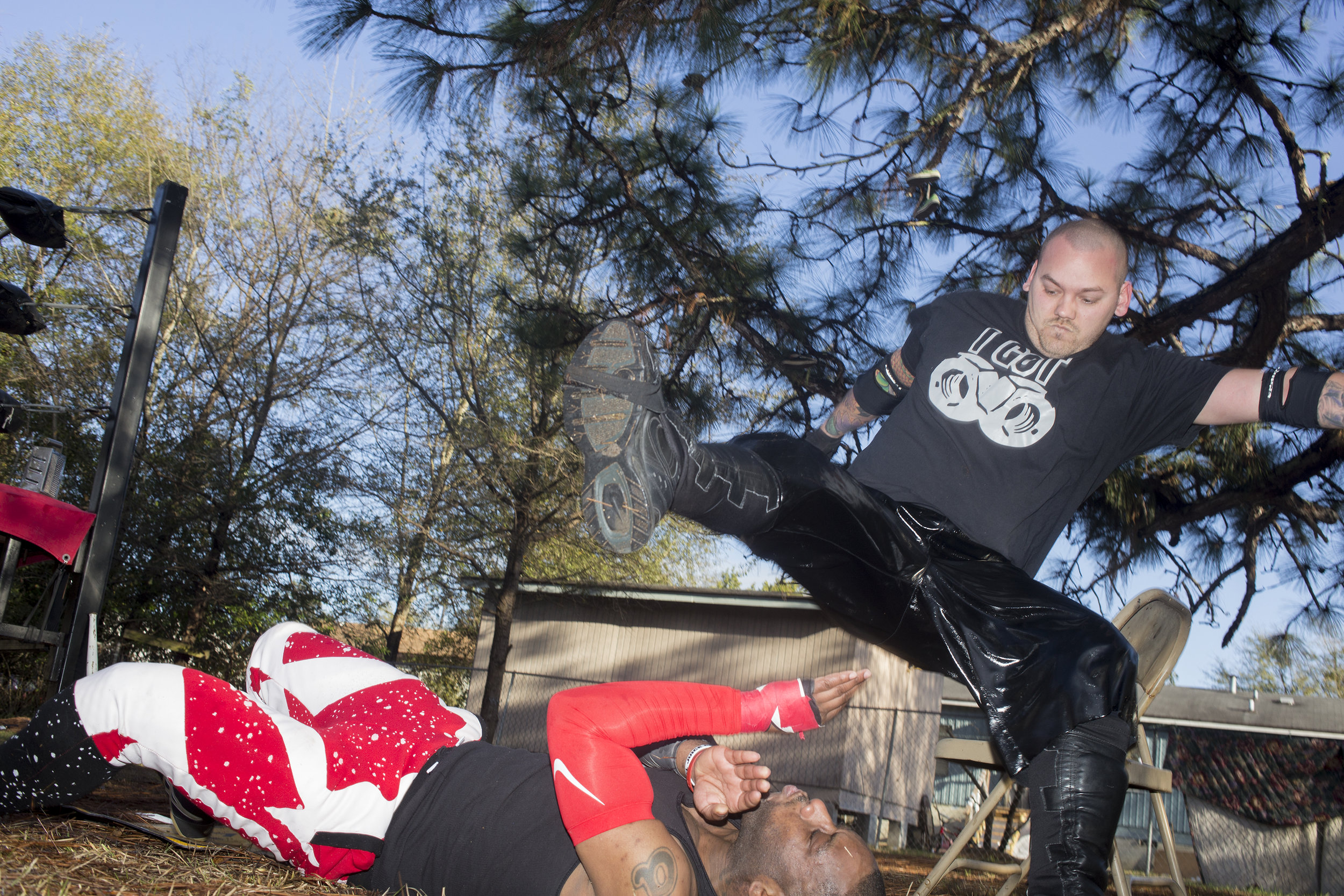 This series explores the underground world of backyard wrestling, where sport and theater collide and performative violence is an expression of creativity.